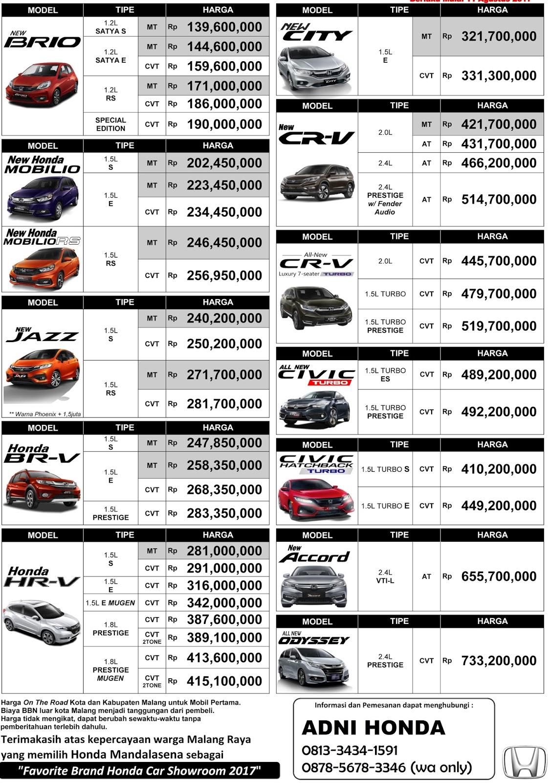 Kelebihan Daftar Harga Mobil Honda Review