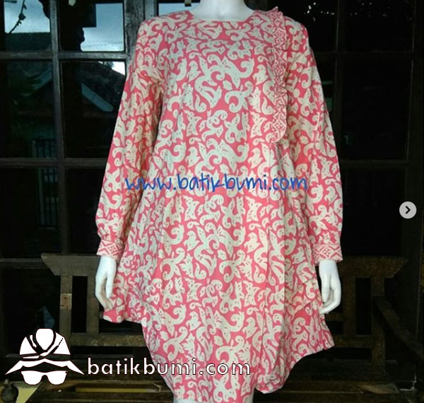 Tunik Batik Balon Motif Kembang Kuncoro Pink