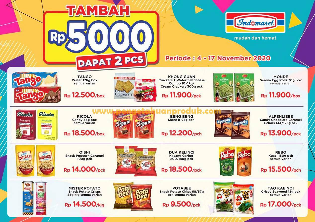 Indomaret Promo Tambah Rp 5.000 dapat 2 PCS