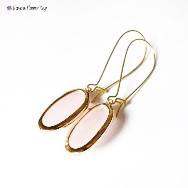 Pendientes con ágatas rosas y goldfield · Pink gemstone earrings