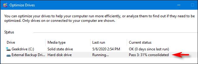 حالة التحسين وإلغاء التجزئة في Windows 10