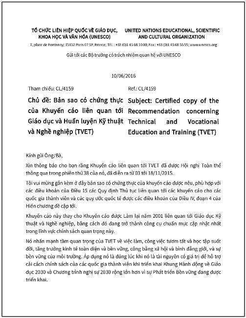 'Khuyến cáo liên quan tới Giáo dục và Huấn luyện Kỹ thuật và Nghề nghiệp (TVET)' - bản dịch sang tiếng Việt