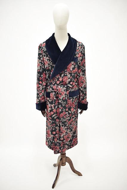 mens velvet dressing gown silk houseocat warm long classic jacquard robe floral smoking jacket