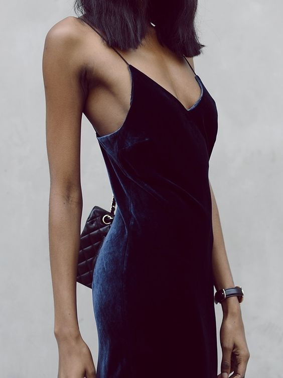 Bisous Natasha - Navy Blue Velvet Cami Midi Dress + Vintage Chanel Bag