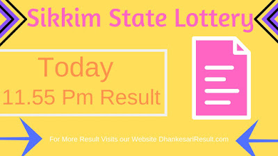 Sikkim State Lottery 11.55 AM 31/03/2019 Result Download