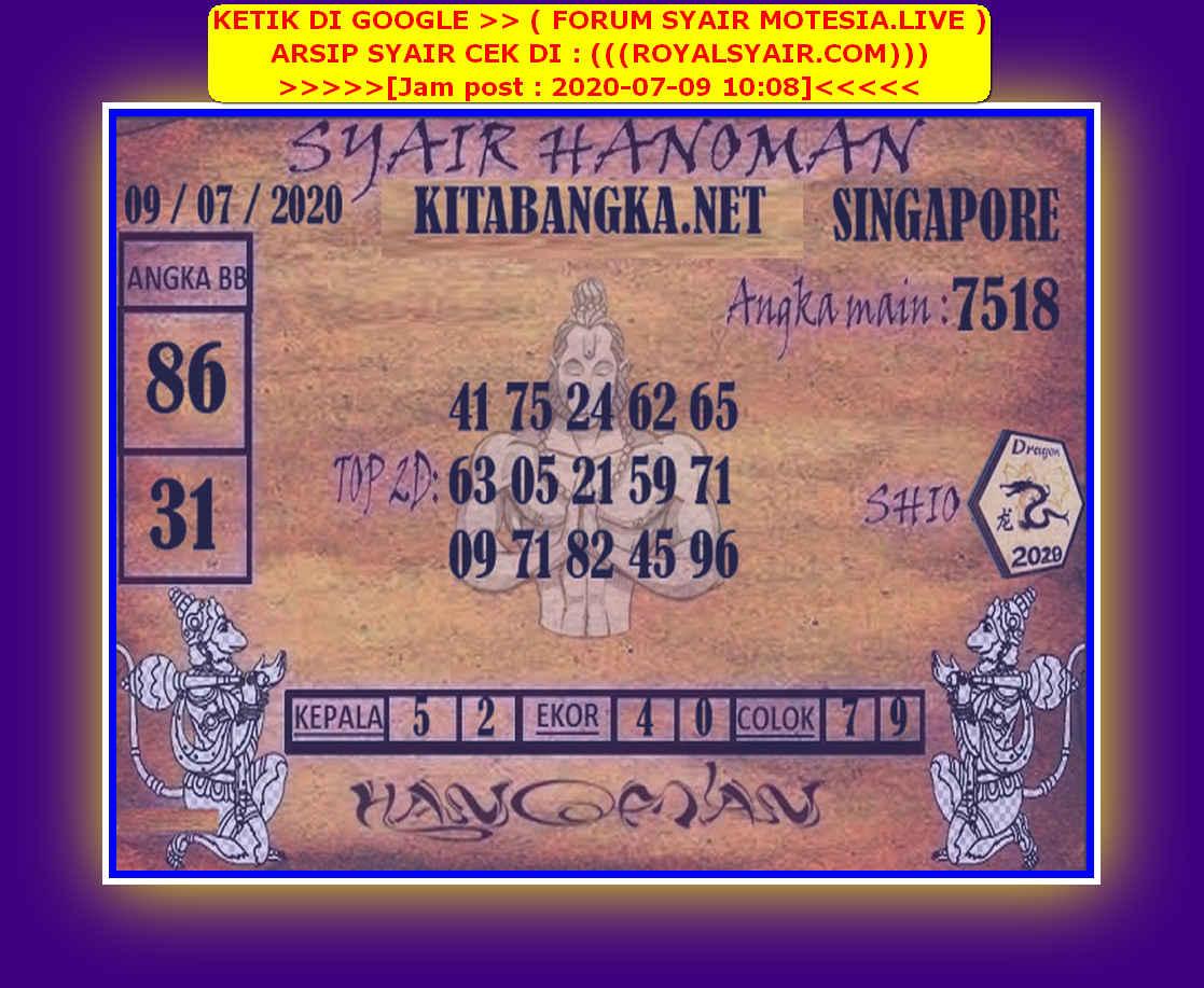 Kode syair Singapore Kamis 9 Juli 2020 167