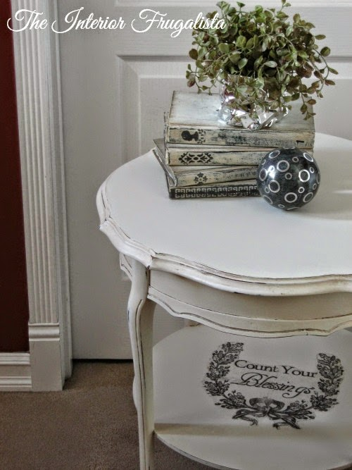 French Provincial Round Side Table with Graphic