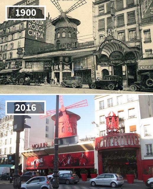 Antes y despúes Cabaret Moulin Rouge París