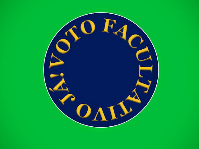 A imagem nas cores do Brasil diz:voto facultativo já!