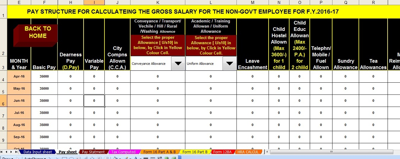All In One Tds On Salary Calculator For F Y 2016 17 And A