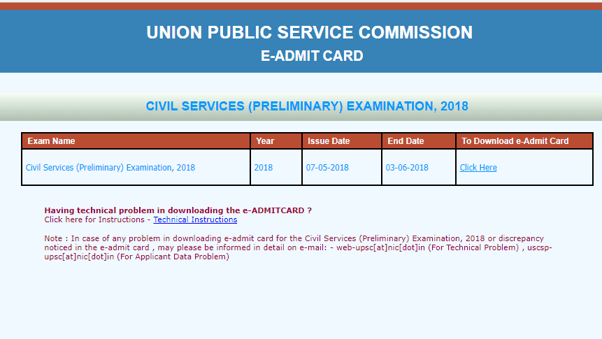UPSC CSE 2018 Admit Card