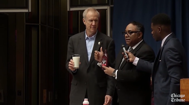Illinois governor drinks chocolate milk to demonstrate his commitment to diversity