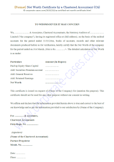 net worth certificate format by chartered accountant