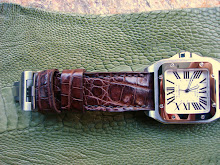 Michael's Cartier Santos XL 100 on Brown Caiman
