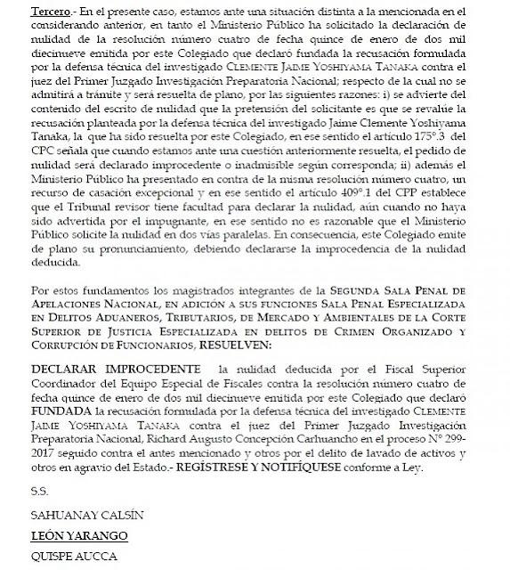 Sala ratifica que juez Concepción Carhuancho queda fuera del caso Keiko Fujimori