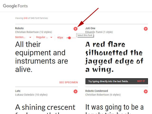 google fonts indir