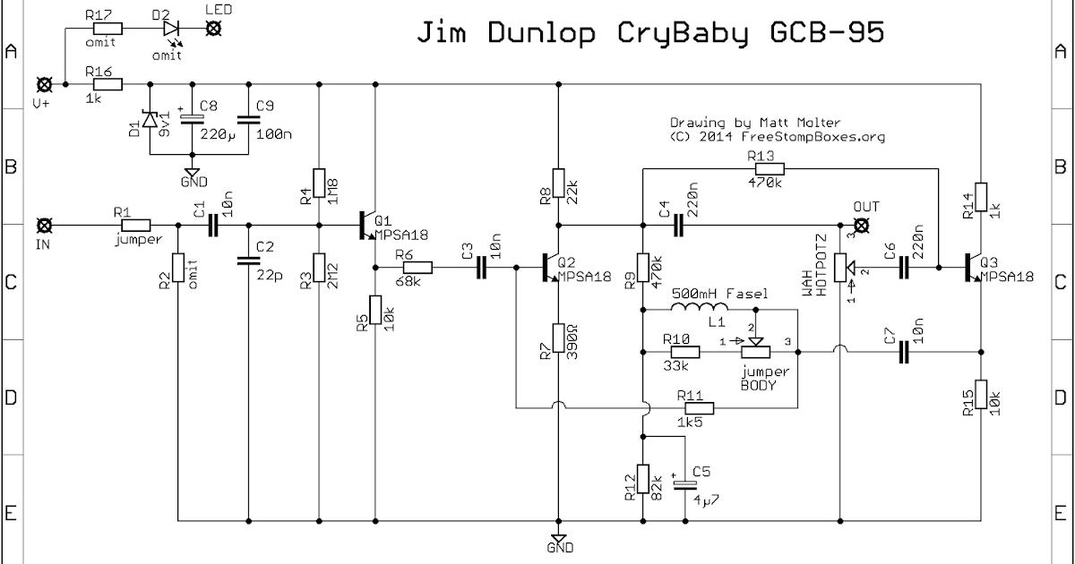 guitar fx layouts jim dunlop crybaby gcb 95. Black Bedroom Furniture Sets. Home Design Ideas