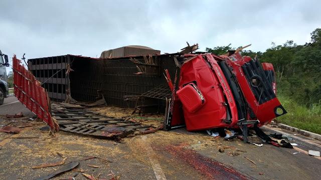 Colisão entre caminhão boiadeiro e carreta deixa motorista ferido e bois mortos no interior do Maranhão