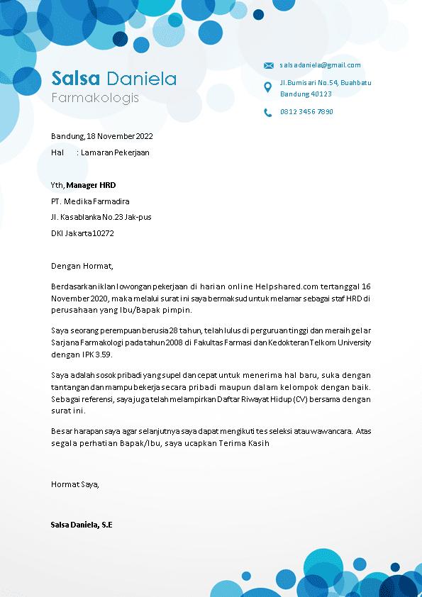 Contoh Surat Lamaran Kerja 15