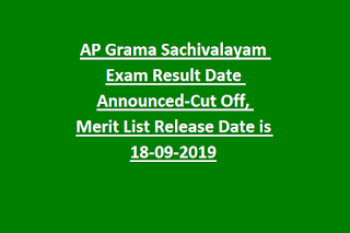 AP Grama Sachivalayam Exam Result Date Announced-Cut Off, Merit List Release Date is 18-09-2019