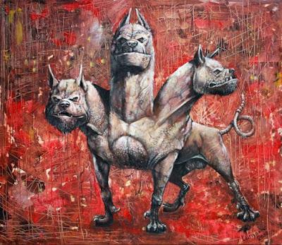 Illustrazione di Cerberus. Segugio di Ade. Mitologia greca.
