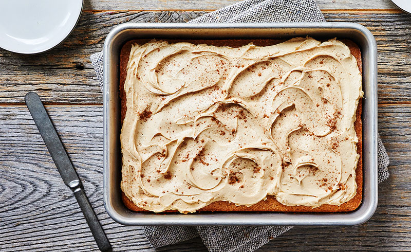 Cinnamon Sheet Cake with Cider Frosting