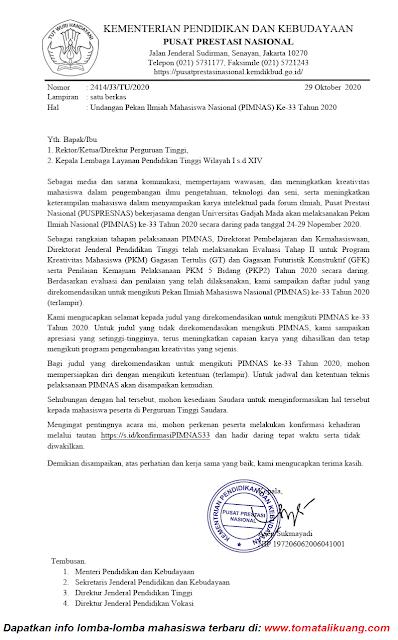 jadwal ketentuan daftar peserta judul lolos pekan ilmiah mahasiswa nasional pimnas ke 33 tahun 2020 tomatalikuang.com