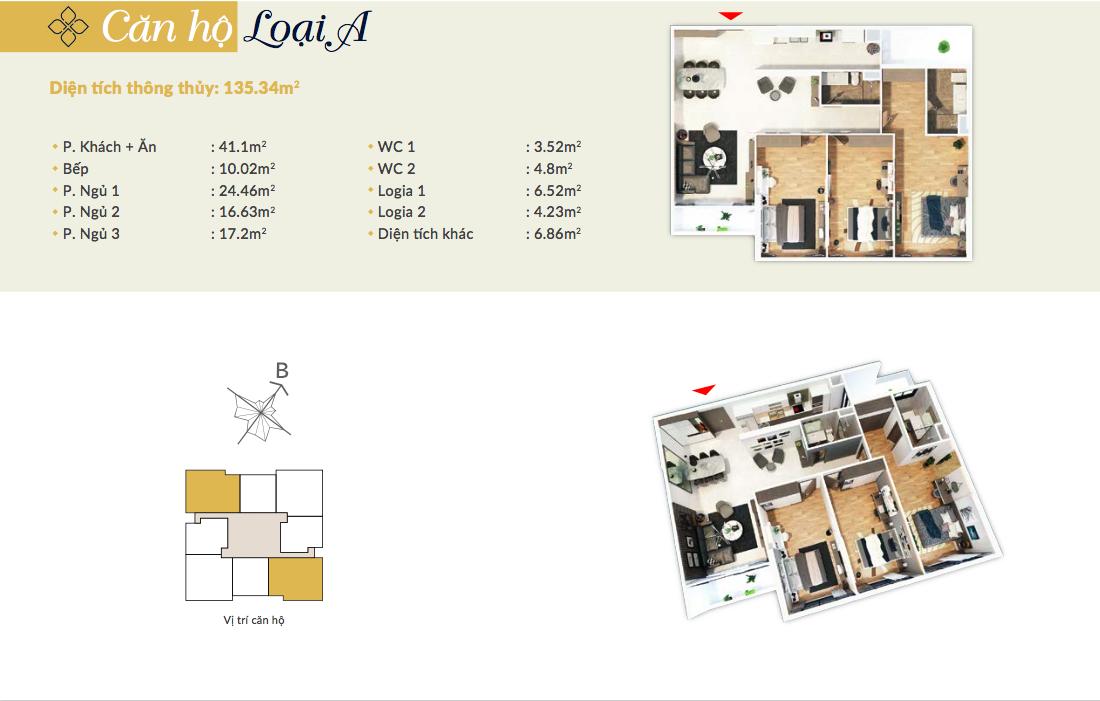 Thiết kế căn hộ loại A - 135,34m2 - 3PN, 2VS chung cư Bohemia Residence