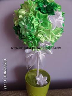 urodziny, drzewko, kanzashi, imieniny, kwiaty, ozdoba, własnoręcznie zrobione, rękodzieło, inspiracja, kurs,