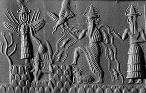 Akkadian cylinder seal dating to c.2300 BC depicting the deities Inanna, Utu, and Enki, three members of the Anunnaki.