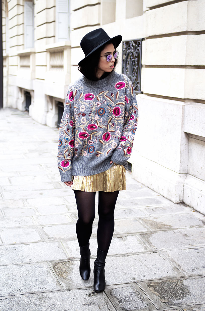 Elizabeth l embroidered flower sweater gold pleated skirt l blog mode l THEDEETSONE l http://thedeetsone.blogspot.fr
