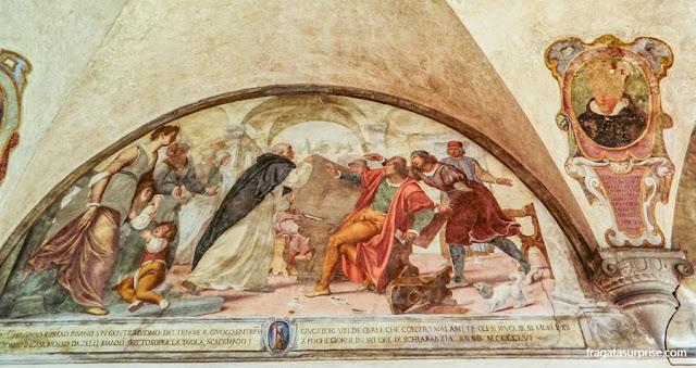 Detalhe dos afrescos que decoram o claustro do Mosteiro de San Marco, em Florença