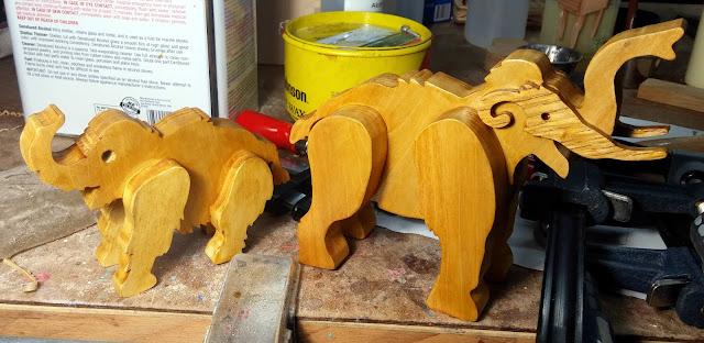 Handmade Wooden Toy Mamoths