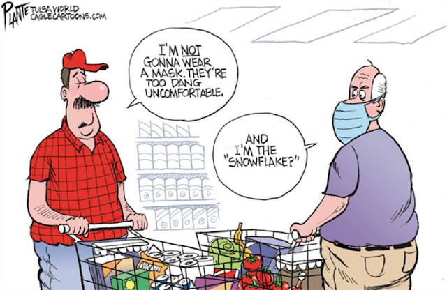 Two men in a grocery store.  Red-shirted one says,