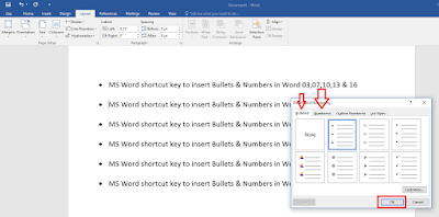 MS Word : Shortcut Key to Insert Bullets & Numbers in All Word Version,MS Word 2016 shortcut key,shortcut key to insert bullets in word 2016,shortcut key to insert number in word 2016,word 2003,word 7,word 2016,how to insert bullets,how to insert number,auto numbering,auto bullets,word,how to remove bullets,how to insert bullets and numbers,keyboard key to insert bullet and numbers,shortcut key to add bullets & numbers,add bullets,add numbers,text,lines Shortcut key to insert bullets & number in MS word 2003, 2007, 2010, 2013 & 2016.