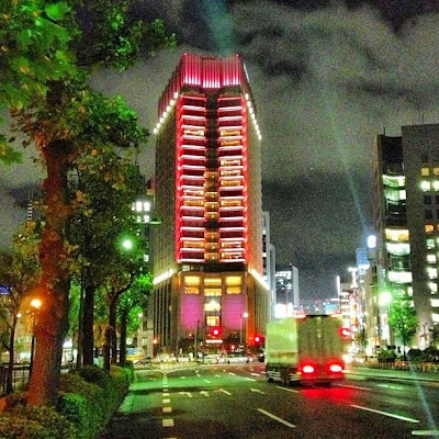 Night view of the Peninsula Tokyo hotel, Japan.