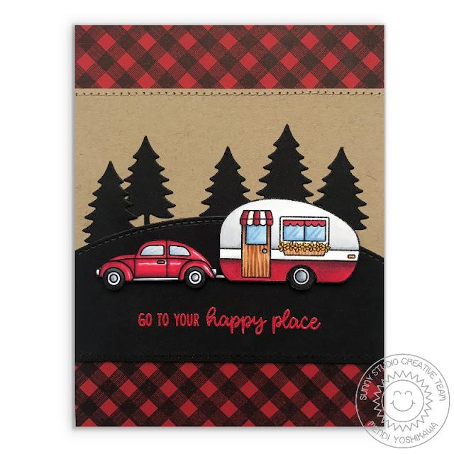 Sunny Studio Stamps: Happy Camper Retro Trailer Black & Red Checkered Rustic Card by Mendi Yoshikawa