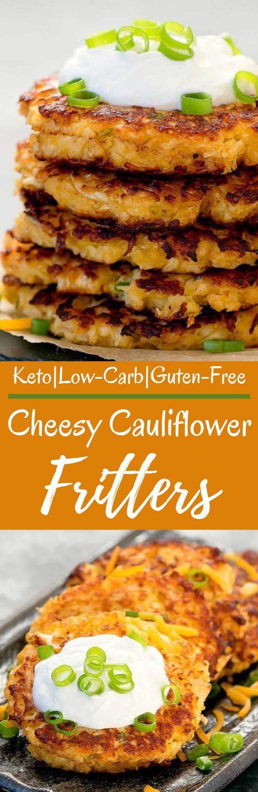 Cheesy Cauliflower Fritters #lowcarb #healthy