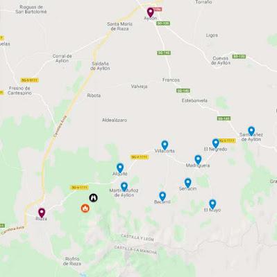 mapa con los pueblos rojos y negros Segovia