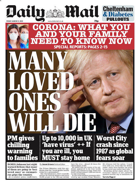 many loved ones will die, Boris Johnson, Coronavirus, Daily Mail
