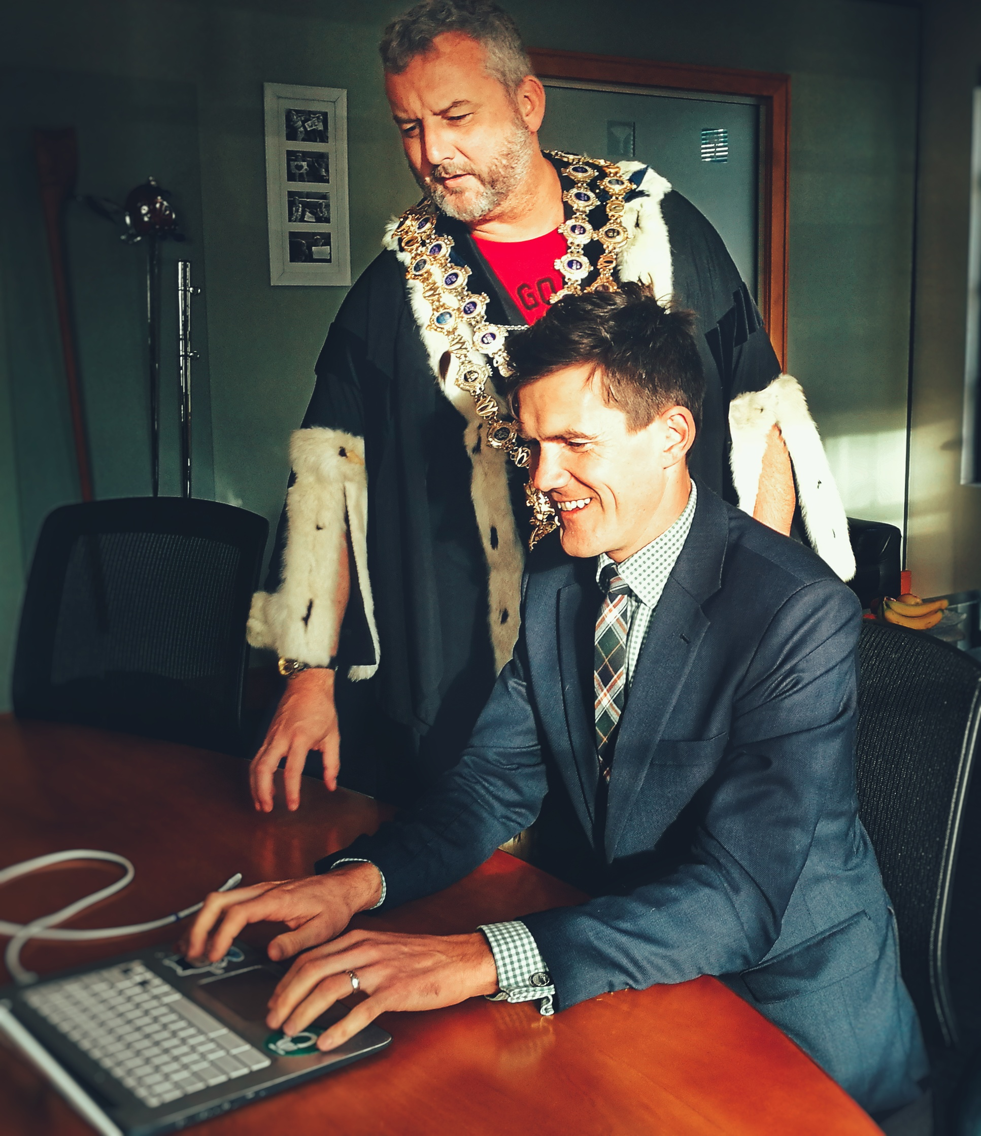 Mike in the Wellington City Mayoral robes and chains with the 35th Mayor, Justin Lester