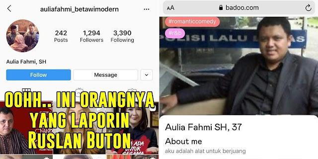 Aulia Fahmi Pelapor Ruslan Buton