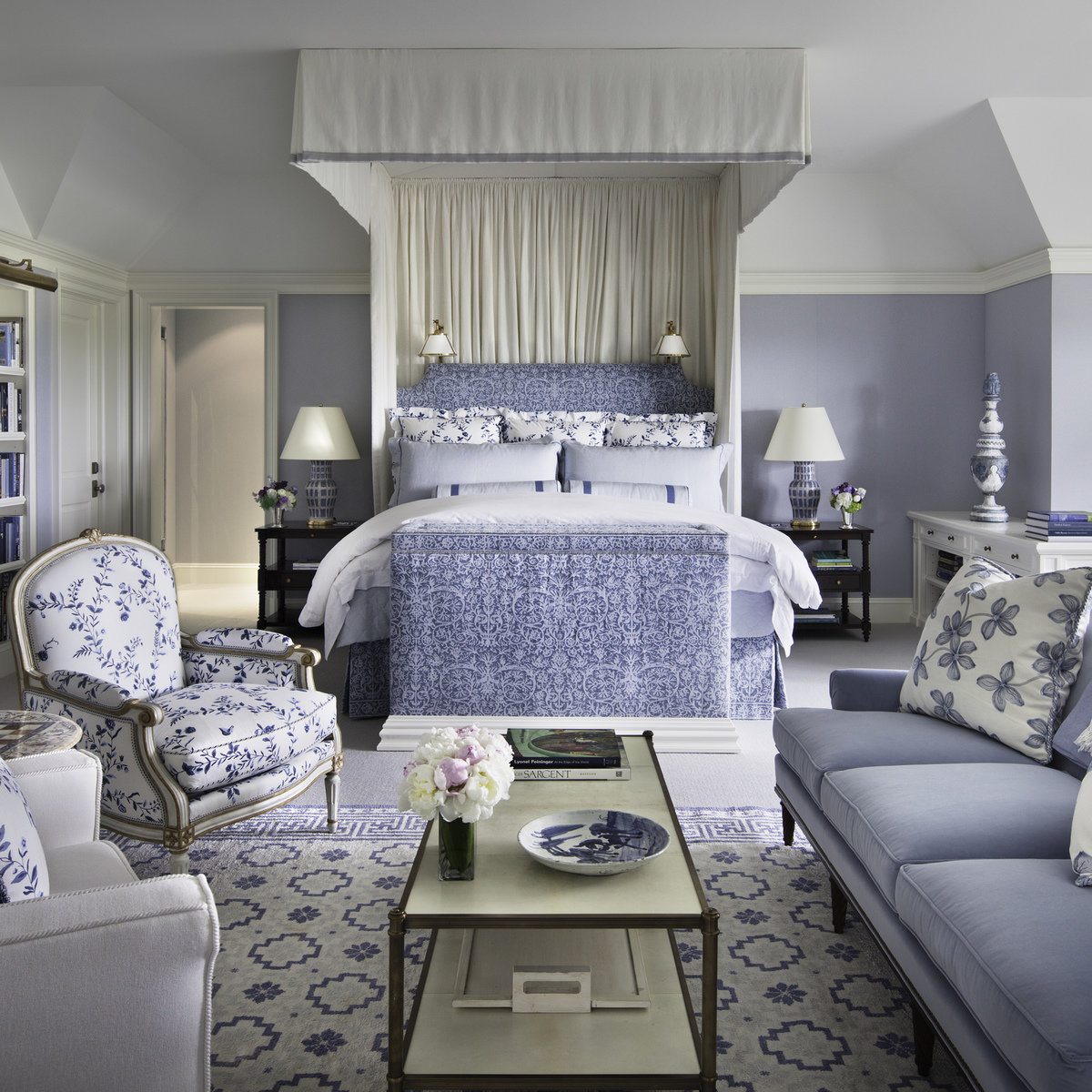 Alexa Hampton blue and white bedroom