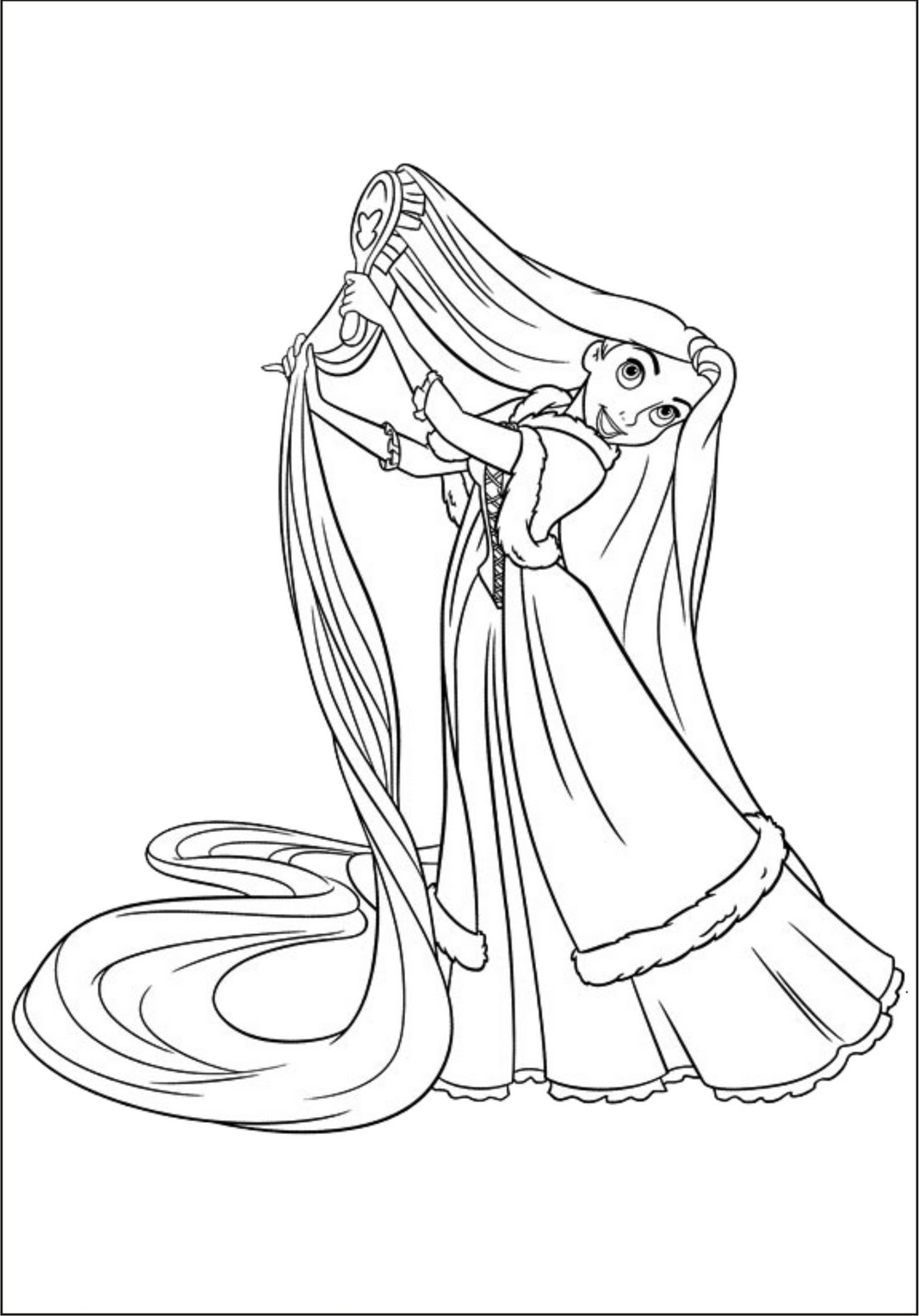 Brinquedos de papel princesa rapunzel para colorir for Disney tangled coloring pages