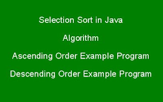 Selection Sort in java
