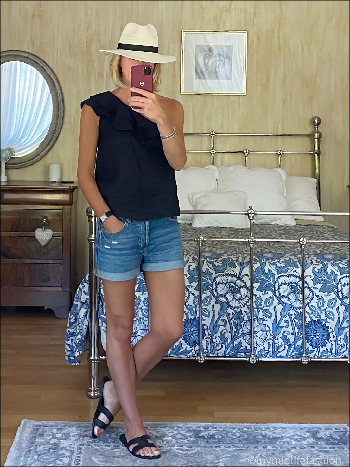my midlife fashion, Zara Panama hat, Isabel marant etoile ruffle one shoulder linen top, h and m boyfriend denim shorts, Ancient Greek Desmond leather sliders