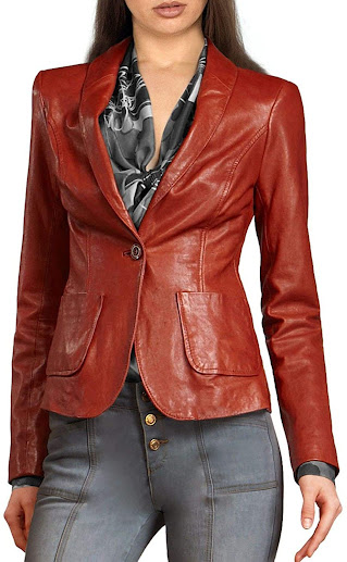 Tan Brown Leather Blazers Jackets For Women