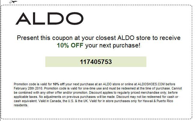 Aldo Mens Shoes Coupon