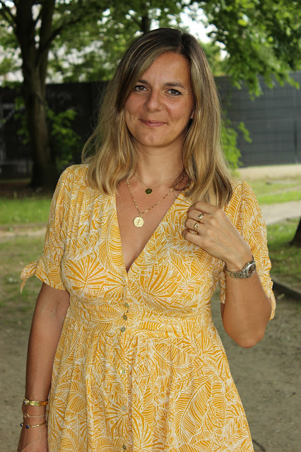 Robe jaune suncoo, look du jour, les petites bulles de ma vie