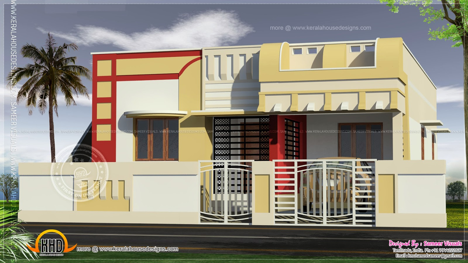 Small south indian home design kerala home design and for Indian home exterior design photos middle class